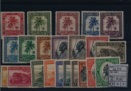RUANDA URUNDI 1942 ISSUE COB 126/47 MNH