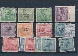 RUANDA URUNDI 1925 ISSUE COB 62/76 LH