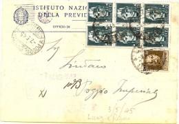 LBL33 - ITALIE PERIODE REGENCE (LUOGOTENENZA) - CP INPS 7/5/1945 LUCERA / POGGIO IMPERIALE - 5. 1944-46 Luogotenenza & Umberto II