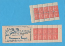 FRANCE- Yvert N° 199 C 49- Carnet - Semeuse Lignée 50 C - Commemoratives