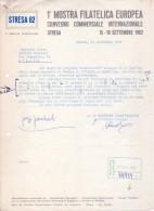 Fattura 1°Mostra Filatelica Europa. Convegno Commerciale Internazionale STRESA 1962 (Ditta Fratelli Lorioli - Medaglie) - Italia