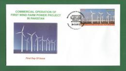 PAKISTAN 2012 - COMMERCIAL OPERATION OF FIRST WIND FARM POWER PROECT - FDC MNH ** - Energy , Windmill ECLECTRICITY .. - Pakistan