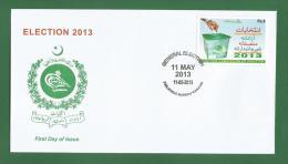 PAKISTAN 2013 - GENERAL ELECTION COMISSION - FDC MNH ** - Ballot Box. Bulletin De Vote / Ballot Paper - As Scan - Pakistan