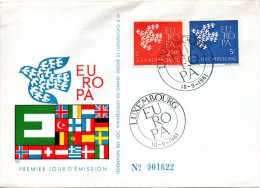 LUXEMBOURG. N°601-2 Sur Enveloppe 1er Jour De 1961. Europa´61. - Europa-CEPT