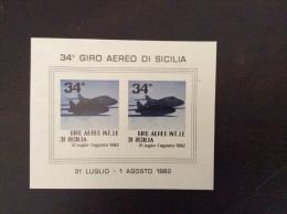 POSTA AEREA - Erinnofilo    FOGLIETTO  GIRO AEREO INTERNAZIONALE DI SICILIA 1982 - Erinnofilia