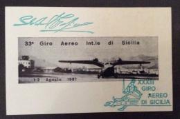POSTA AEREA - Erinnofilo    FOGLIETTO  ADESIVO. GIRO AEREO INTERNAZIONALE DI SICILIA 1981 - Erinnofilia