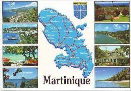 MARTINIQUE    H51    Contourgéographique Et 8 Vues - Martinique