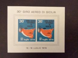POSTA AEREA - Erinnofilo    FOGLIETTO . GIRO AEREO INTERNAZIONALE DI SICILIA 1978 - Erinnofilia