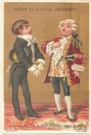"""Chromo MAISON DE LA BELLE JARDINIÈRE - """"Col & Manchettes Sous Louis XV"""" - Chromolithographie Sicard 8,4 X 12,4 Cm - Chromos"""