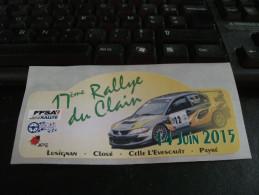 Autocollant Voiture Rallye 17 Eme Rallye Du Clain ( Vienne ) 14/06/15 Lusignan Cloué Celle Levescault Payré - Adesivi