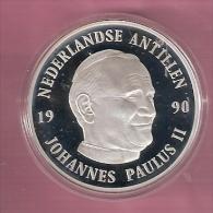 NED.ANTILLEN 25 GULDEN 1990 ZILVER PROOF BEZOEK PAUS JOHANNES PAULUS II - Antilles Neérlandaises