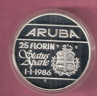 ARUBA 25 FLORIN 1986 ZILVER PROOF STATUS APARTE - [ 4] Colonies