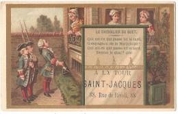 """Chromo GRANDS MAGASINS À LA TOUR ST-JACQUES (Paris) - """"Le Chevalier Du Guet"""" - Chromolithographie Romanet 6,5 X 10,3 Cm - Chromos"""