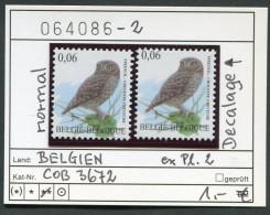 Buzin - Belgien - Belgique -  Belgium - Belgie - Michel 3720 - COB 3672 DECALAGE  - ** Mnh Neuf Postfris -  Steinkauz - Abarten Und Kuriositäten