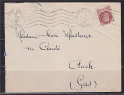 = Enveloppe De Mont De Marsan Landes à Auch Gers 19.4.1943 Type Pétain De Bersier N°517 - 1921-1960: Moderne