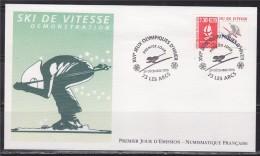 = Jeux Olympiques D'Hiver Albertville 92 Enveloppe 1er Jour 73 Les Arcs 29.12.90 N°2675 Ski De Vitesse - Hiver 1992: Albertville
