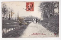 Cpa SAINT MAURICE Le Canal Et écluse De Gravelle Péniche Chemin De Halage Chevaux - Saint Maurice