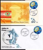 ADIEU LE FRANC -  1 CARTE ET 1 ENVELOPPE Obliteration Dernier Jour 31.12.2001 - Coins