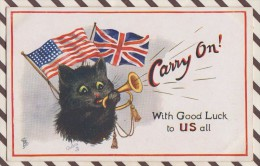 5AH1826 ILLUSTRATEUR FIGURANT UN CHAT CARRY ON! WITH GOOD LUCK TO US ALL OILETTE  2 SCANS - Illustrators & Photographers