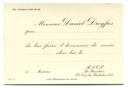 """Très Belle Carte D´invitation Début XXème """"Daniel Dreyfus"""" à Saint Nom-la-Bretèche - Yvelines - Stern, Graveur à Paris - Visitekaartjes"""