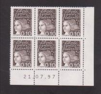 FRANCE / 1997 / Y&T N° 3086 ** : Luquet 0.10F Bistre-noir X 6 En Coin Daté 1997 07 21 ( ) - 1990-1999