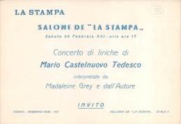 """03755 """"LA STAMPA - INVITO AL CONCERTO DI LIRICHE DEL 26 FEBBRAIO 1938 - XVI E.F. - TORINO"""" CARTONCINO ORIGINALE. - Tickets - Vouchers"""