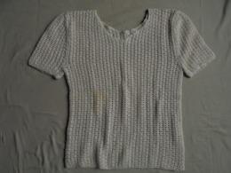 Vintage - Petit Pull écru Manches Courtes Crocheté Main - - Vintage Clothes & Linen
