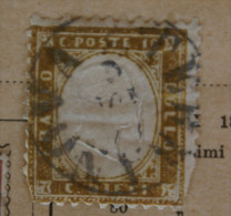 ITALIA 1861-CENT 10 BRUNO   SU FRAMMENTO    USATO - 1861-78 Vittorio Emanuele II