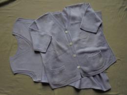 Vintage - Ensemble Femme Gilet & Robe En Coton Perlé  Couleur Parme Tricotés Main - Années 50/60 - Vintage Clothes & Linen