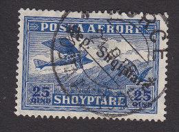 Albania, Scott #C10, Used, Plane Crossing Mountains Overprinted, Issued 1927 - Albania