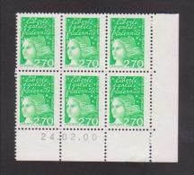 FRANCE / 1997 / Y&T N° 3091 ** (avec PHO) : Luquet 2F70 Vert X 6 - Coin Daté 2000 02 24 ( ) - 1990-1999