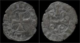 Crusader Archaia Mahaut De Hainaut Billon Denier No Date - Monnaies Antiques
