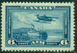 "-Canada-1938- ""Plane Over Steamboat""  Mint - Gum Faults - Poste Aérienne"