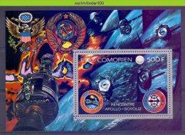 Mta003 TRANSPORT RUIMTEVAART SATELLIET VOGEL BIRD EAGLE SPACE SATELLITE APOLLO SOYOUZ COMORES 1975 PF/MNH # - Afrika