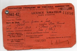 Licence Football Amateur F.F.F Association 1941 - Colecciones