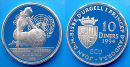 ANDORRA 10 D 1994 ARGENTO PROOF INGRESSO ALL'ONU PESO 31,47g TITOLO 0,925 CONSERVAZIONE FONDO SPECCHIO UNC. - Andorra