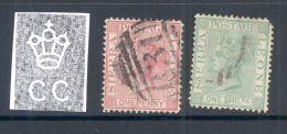 SIERRA LEONE , 1867 1d (thin), 1/- (rounded Corner)(wmk Crown CC) - Sierra Leone (...-1960)