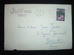 LETTRE POUR LA FRANCE TP FLEURS 0,85 OBL.MEC.25 XII 1967 ZAGREB 1 + DR MIROSLAV GRUJIC - 1945-1992 République Fédérative Populaire De Yougoslavie