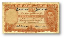 AUSTRALIA - 10 Shillings - Nd ( 1952 ) - P 25.d - Sign. H. C. Coombs And Roland Wilson - George VI - Commonwealth - Pre-decimal Government Issues 1913-1965