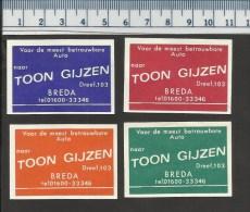 BREDA AUTO TOON GIJZEN Dutch Matchbox Labels - Boites D'allumettes - Etiquettes