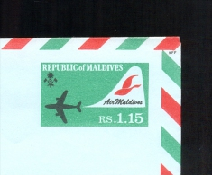 AEROGRAMME AEROGRAM AIRLETTER * STATIONERY MALDIVES * AIR MALDIVES * RS. 1.15 * MINT LIGHT GREEN - Maldiven (1965-...)