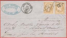 Lettre De Rive De Gier 1867 C.Perlé Bois D'Amont Par Les Rousses  Paire Napoléon N°28A Dentelure Décalée Fq. Cirage F. - Marcophilie (Lettres)