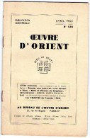 Esotérisme  OEUVRE D´ORIENT  AVRIL 1963 - Geheimleer