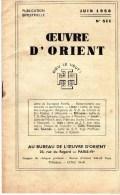 Esotérisme  OEUVRE D´ORIENT  JUIN 1958 - Geheimleer