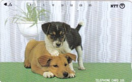 Japan, 111-041 B, Puppy Stepping On Another Puppy's Head, 2 Scans. - Japan