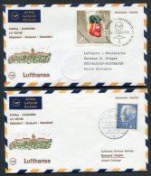 1968 Lufthansa Hungary Germany Budapest - Dusseldorf - Budapest First Flight Covers X 2
