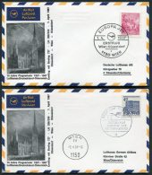 1967 Lufthansa Austria Germany Wien - Dusseldorf - Wien First Flight Covers X 2 - Airmail