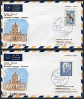 1968 Lufthansa Germany Beograd - Dusseldorf - Beograd First Flight Covers X 2 - Airmail