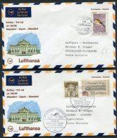 1968 Lufthansa Germany Zagreb - Dusseldorf - Zagreb First Flight Covers X 2 - Airmail