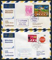 1971 Lufthansa Paraguay Germany Asuncion / Munich First Flight Covers X 2 - Paraguay